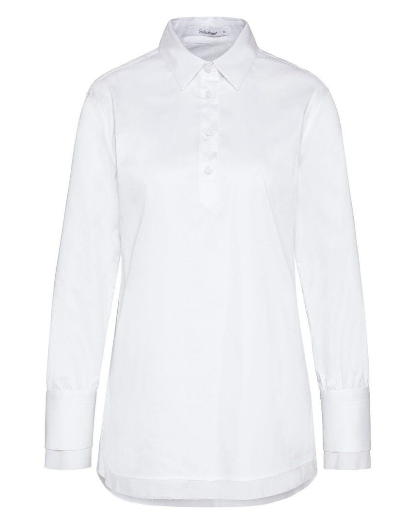 SOLUZIONE - Damen Bluse - Longbluse - Weiß