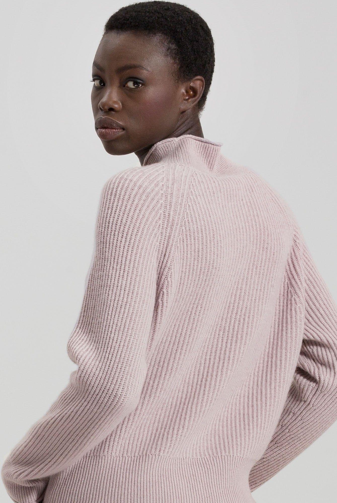 LUISA CERANO - Damenpullover - Ripprolli aus Woll-Mix - Blush Rose