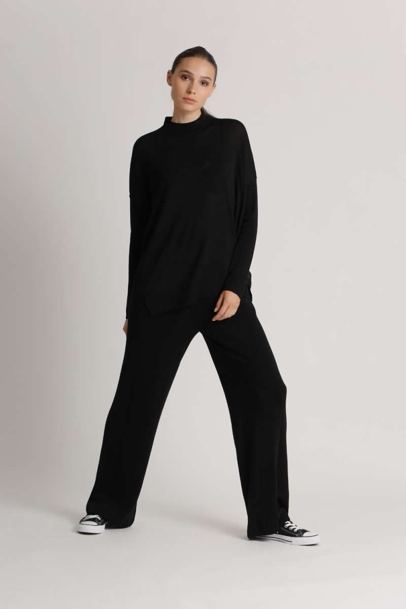 PRINCESS - Damenhose - Pants With Pleats and Pokets - Nero