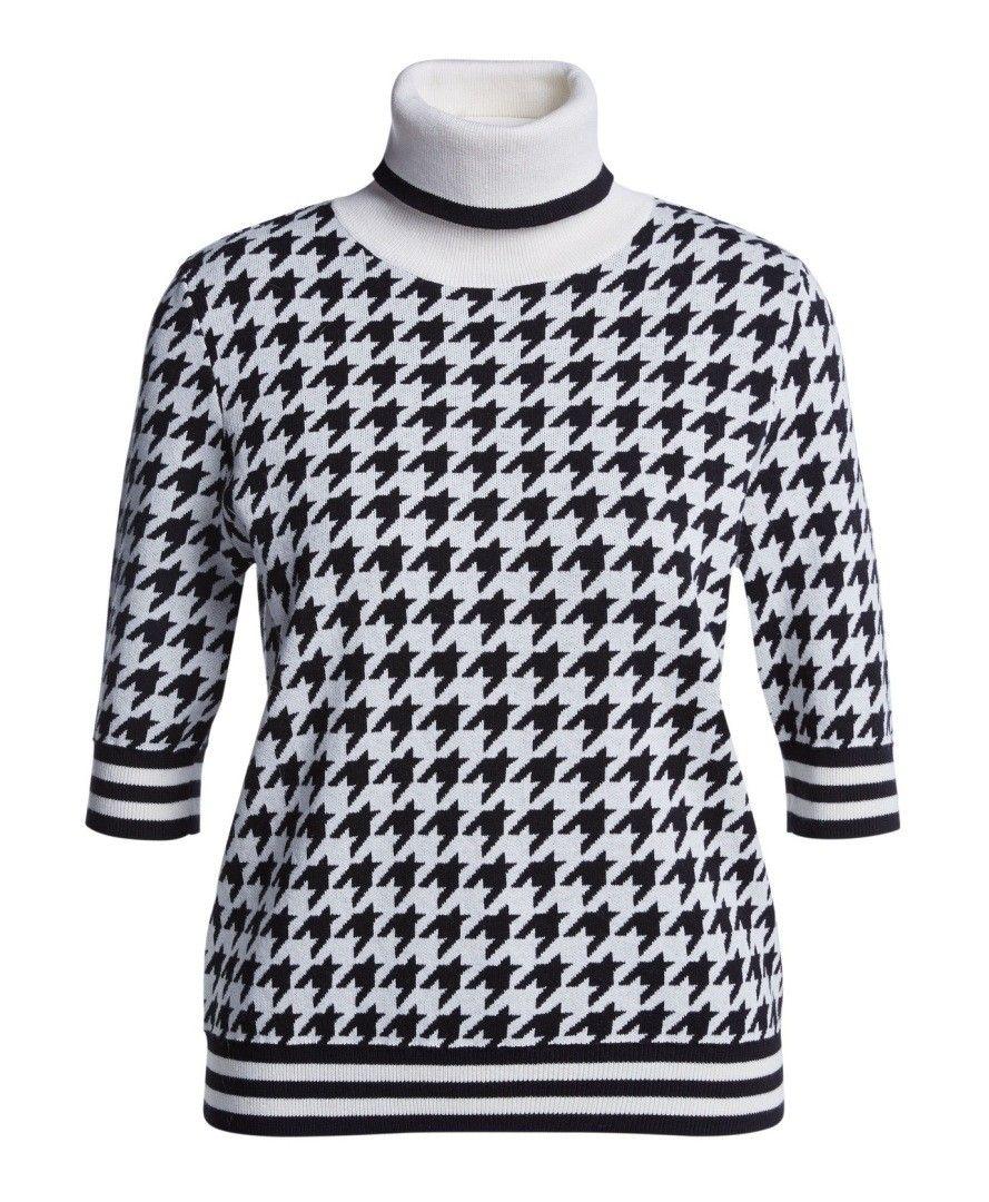 SET - Damen Pullover - Hahnentritt - Black/White