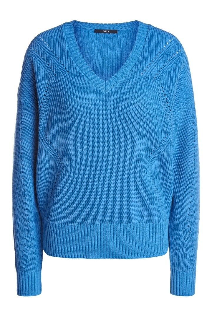 SET - Damen Pullover - Strickpullover - Lightblue