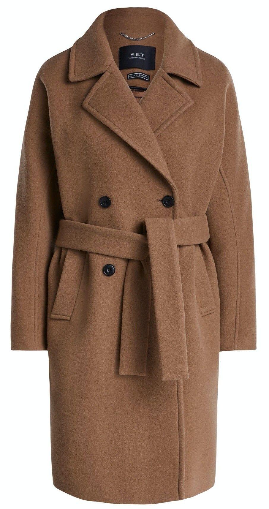 SET - Damen Mantel - Wollmantel mit Kimonoärmeln - Rehbraun