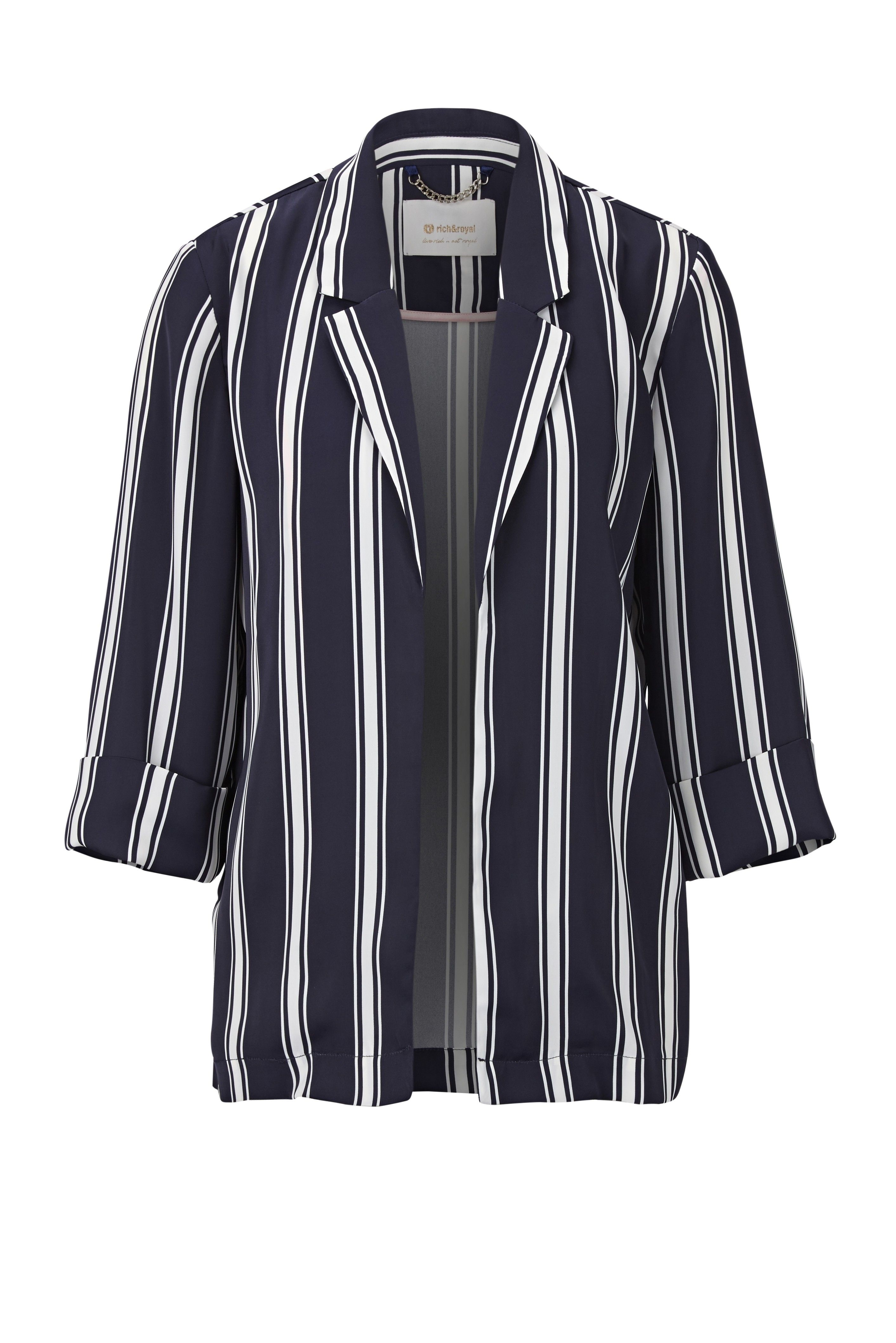 RICH & ROYAL - Damen Jacke - Blazer Striped Oversize - Deep Blue