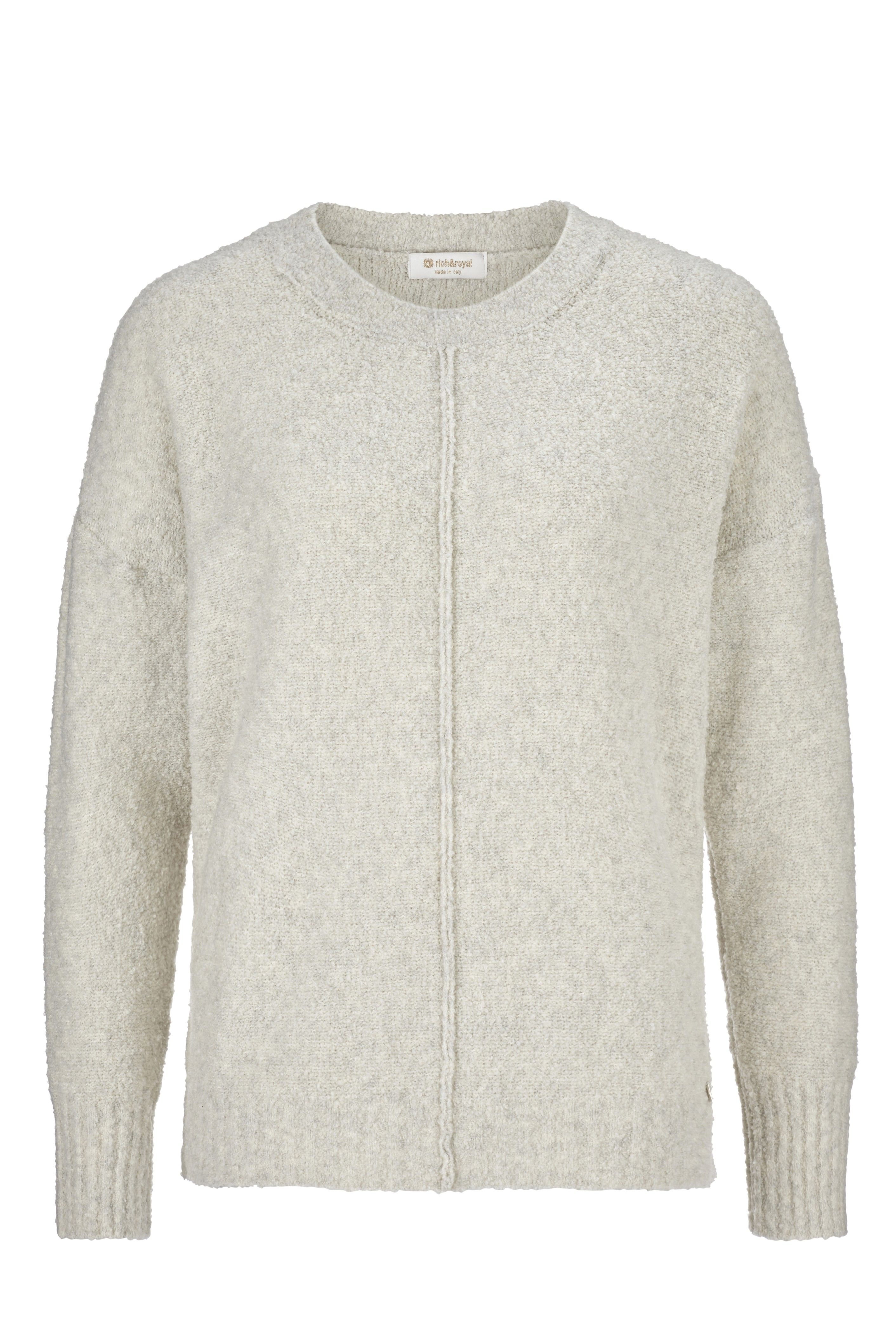 RICH & ROYAL - Damen Pullover - Crew Neck - Pearl White