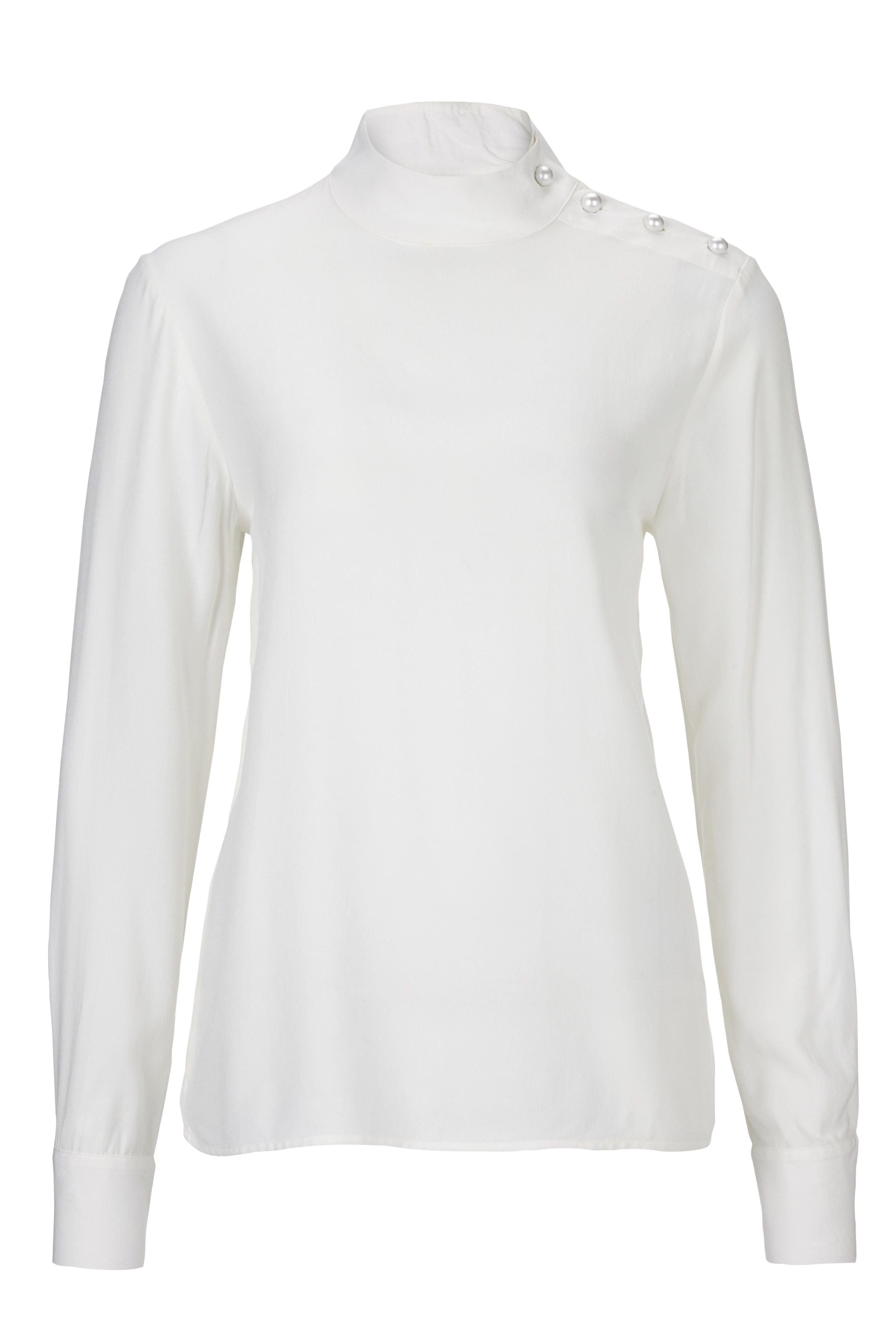 RICH & ROYAL - Damen Bluse - Stehkragen - Perl Weiß