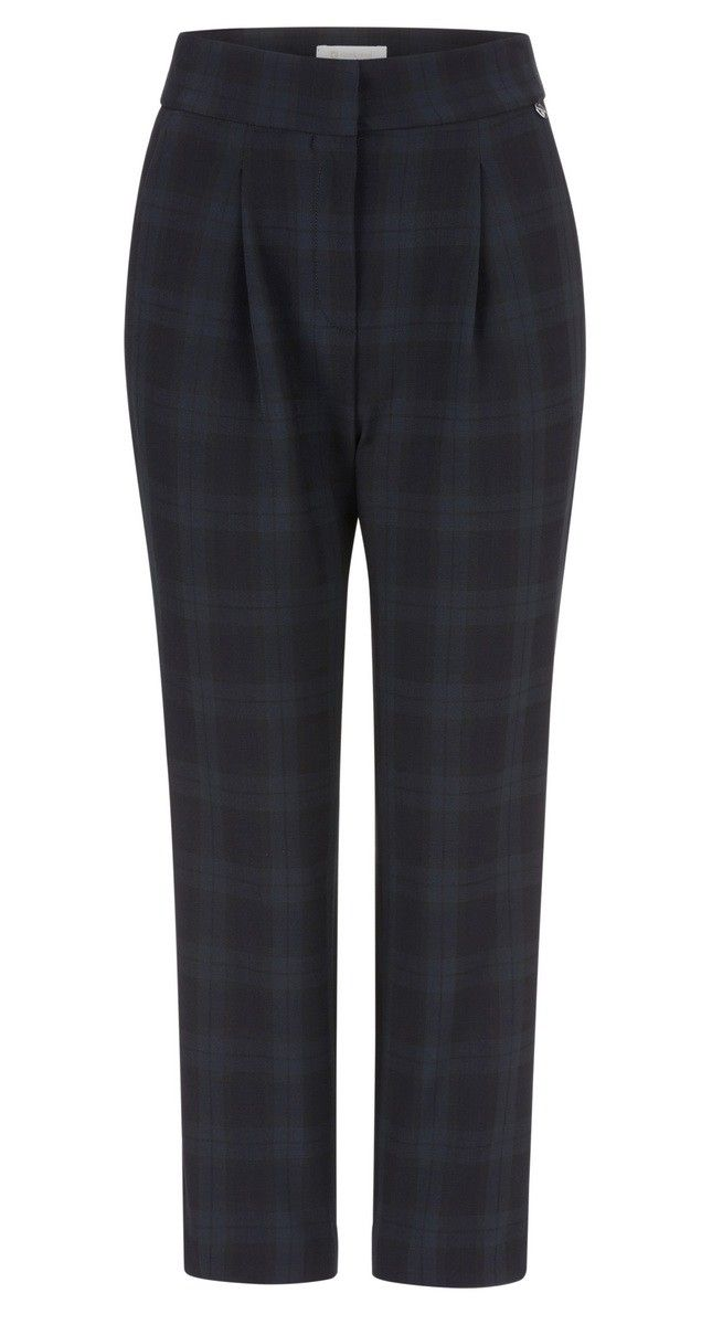 RICH & ROYAL - Damen Hose - Check Pant - Deep Blue