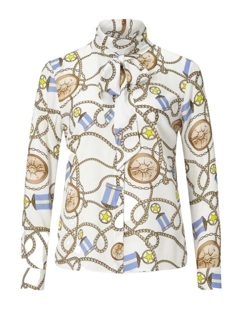 RICH & ROYAL - Damen Bluse - Blouse Collar - White