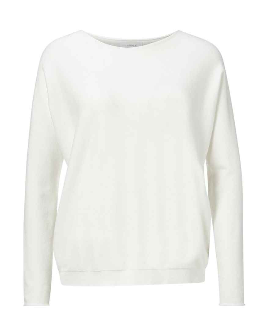 RICH & ROYAL - Damen Pullover - Boat Neck Seamless - Pearl White