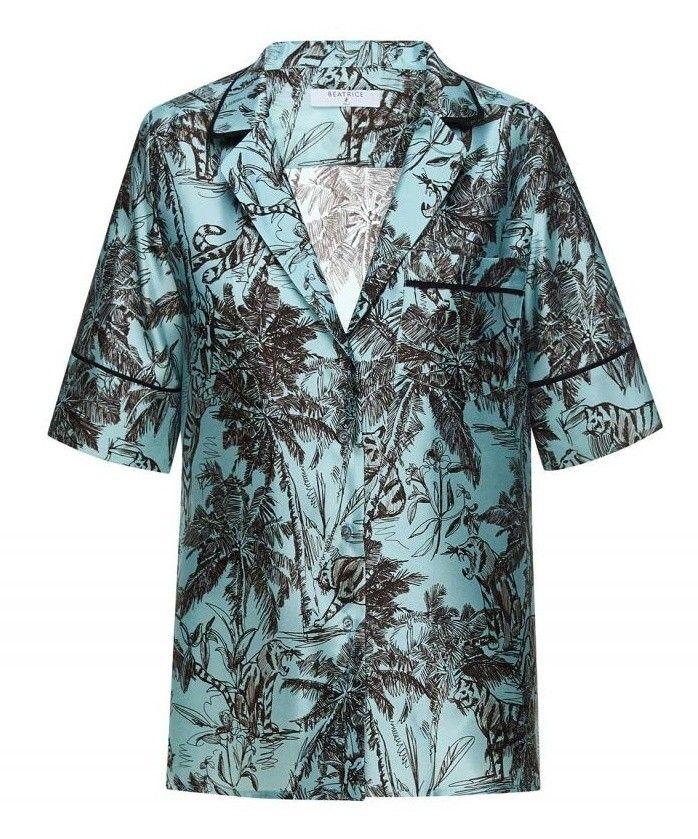 BEATRICE.B - Damen Bluse - Seidenbluse mit exotischem Print - Sky Blue
