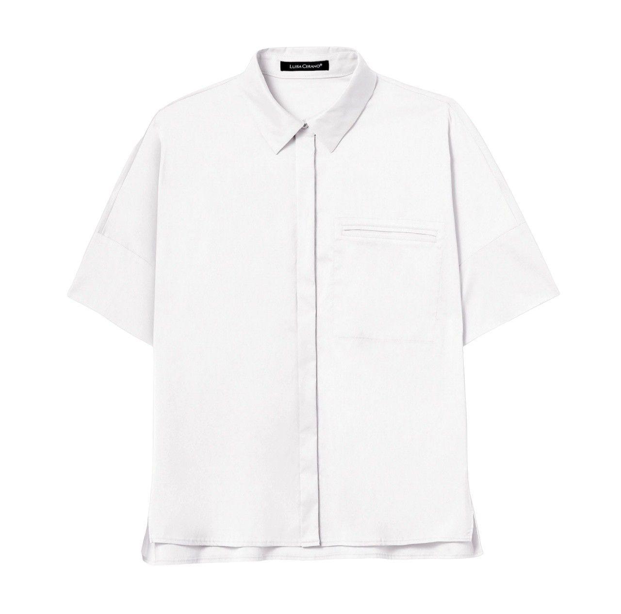 LUISA CERANO - Damen Bluse - Bluse mit Brusttasche - White