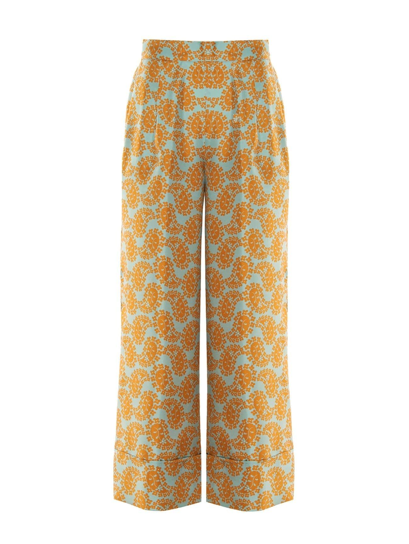 BEATRICE.B - Damen Hose - Cropped Pants - Seide - Blau / Orange