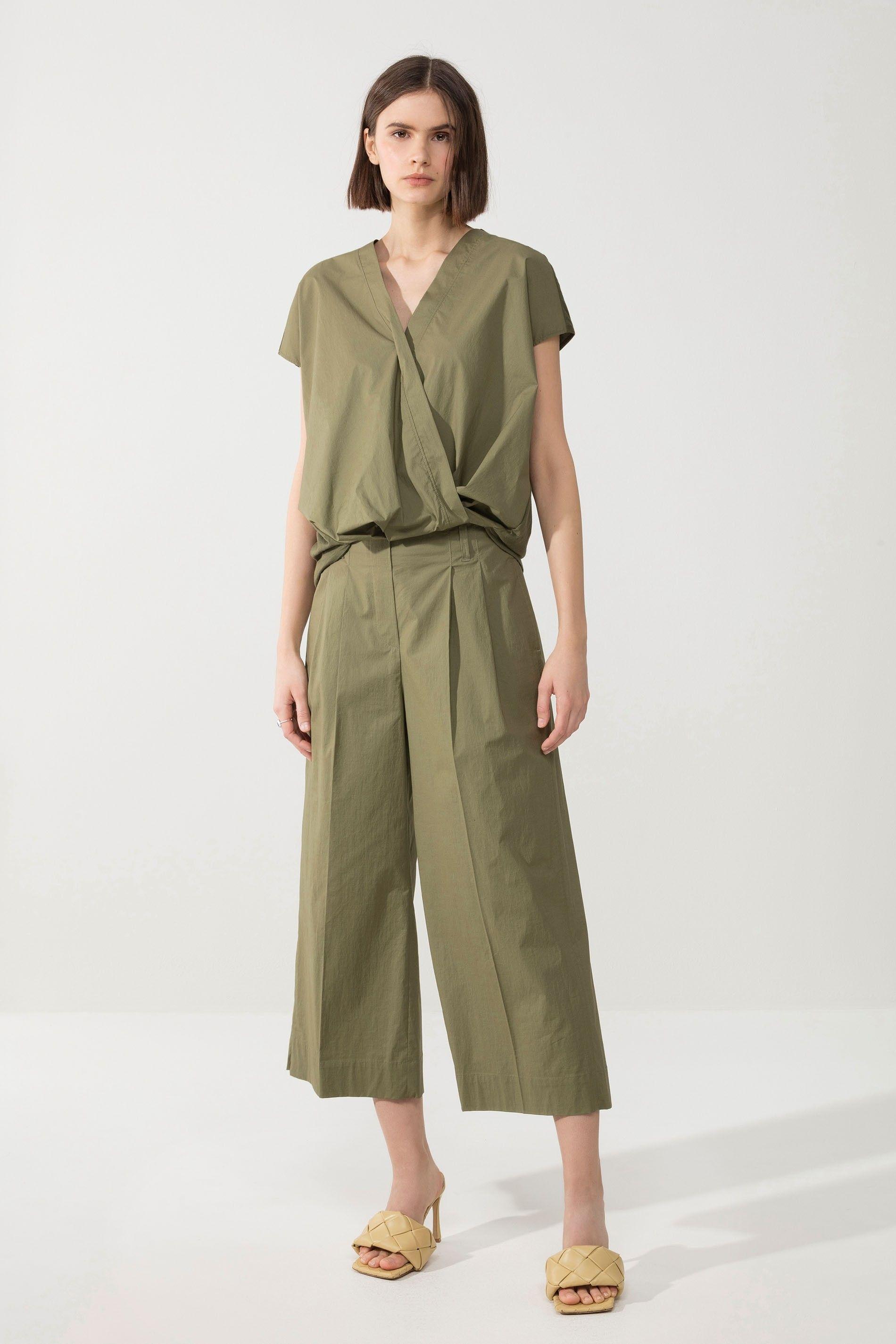 LUISA CERANO - Damen Baumwoll Shirt - Wickeloptik - Olive
