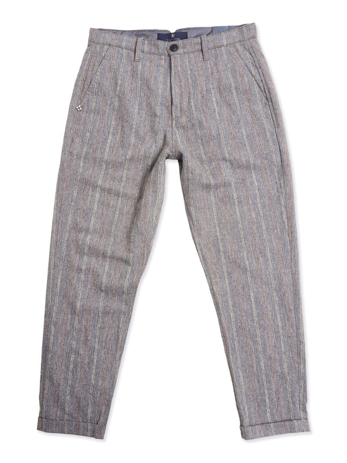 BLUE DE GENES - Herren Hose - Raphael Bianco Trousers - Grey Stripe