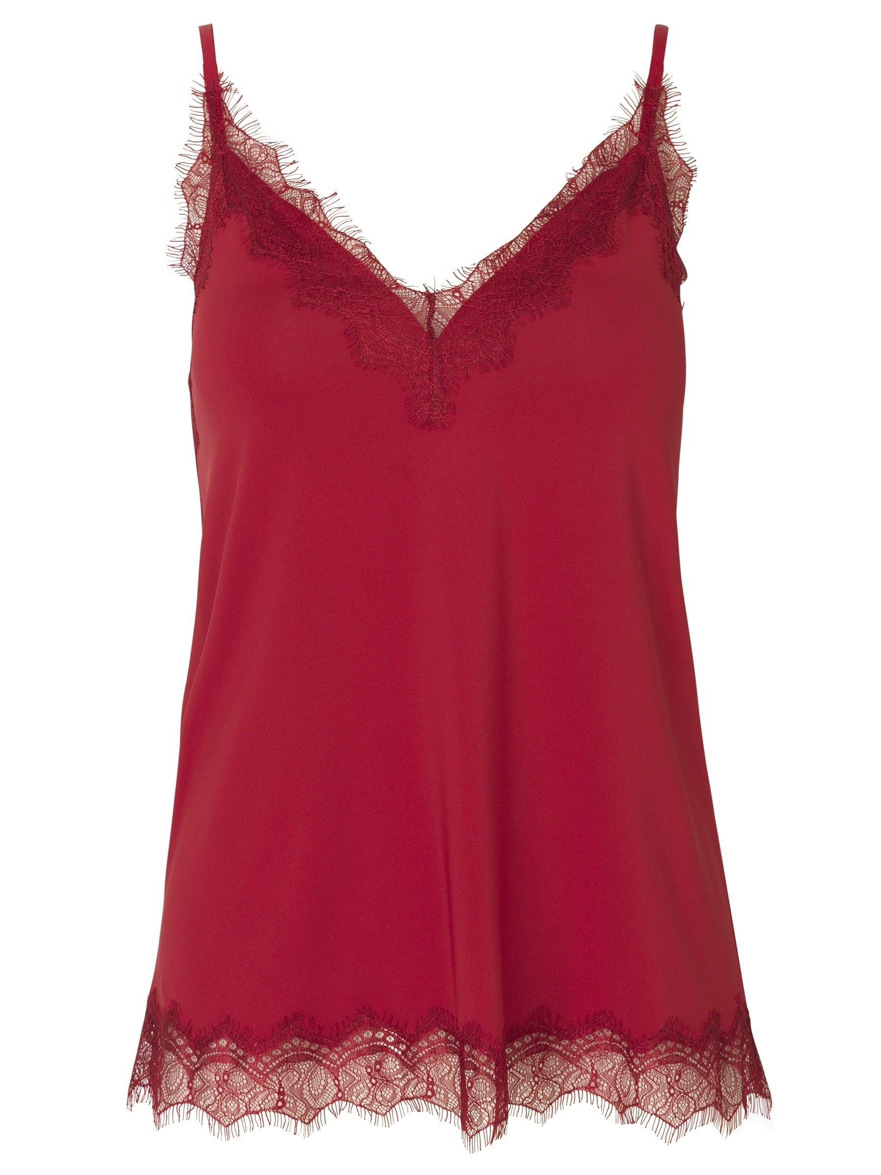 ROSEMUNDE - Damen Shirt - Strap Top - Deep Red