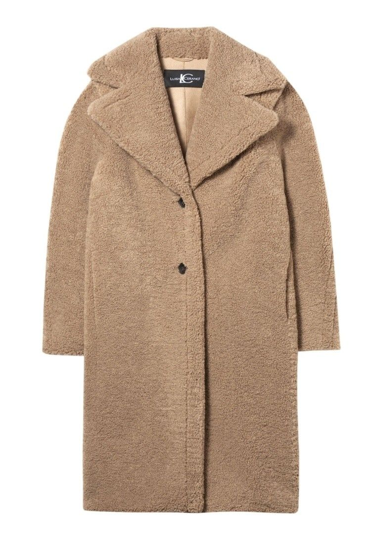 LUISA CERANO - Damen Mantel - Mantel mit Lammfell Optik - Cafe Latte