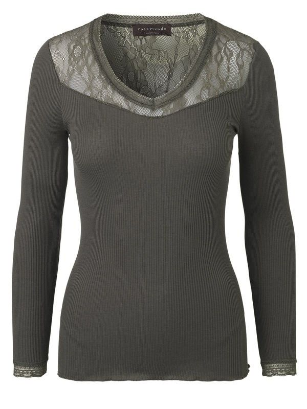 ROSEMUNDE - T-Shirt - Silk T-Shirt Regular ls - Deep Olive