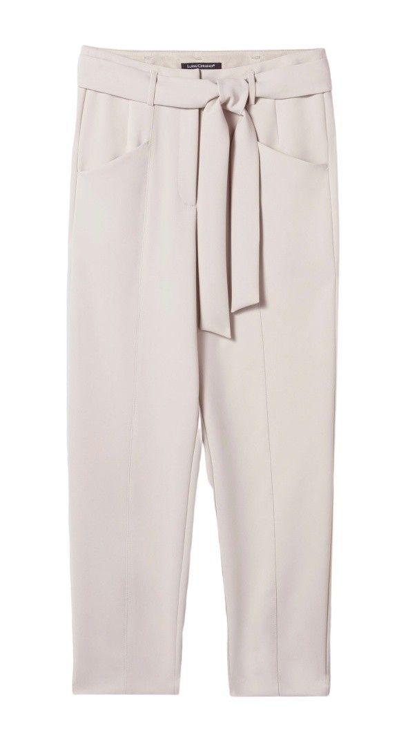 LUISA CERANO - Damen Hose - Tapered Pants mit Bindegürtel - Light Greige