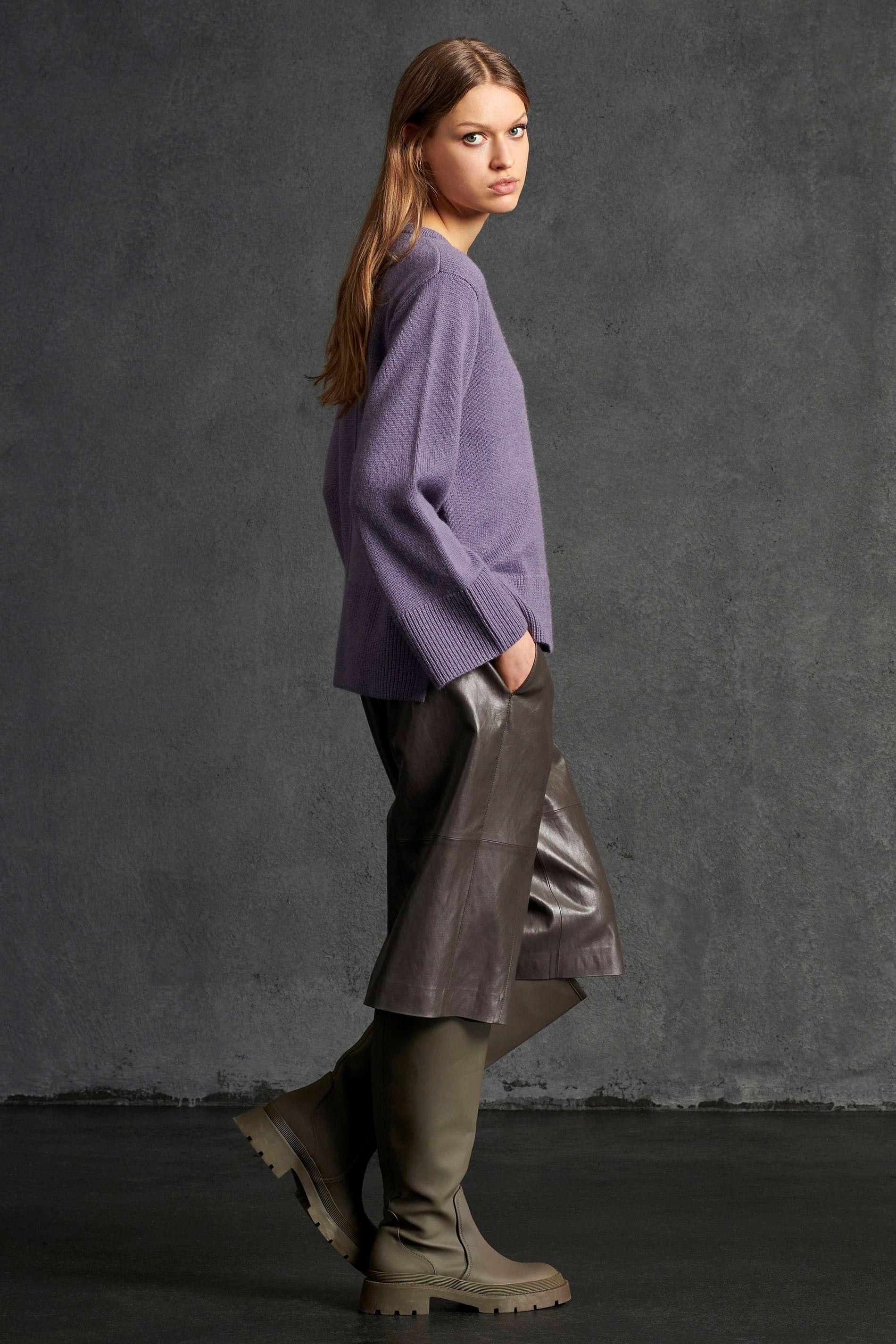 LUISA CERANO -Damen Bermuda - Fake-Leather - Warm Grey