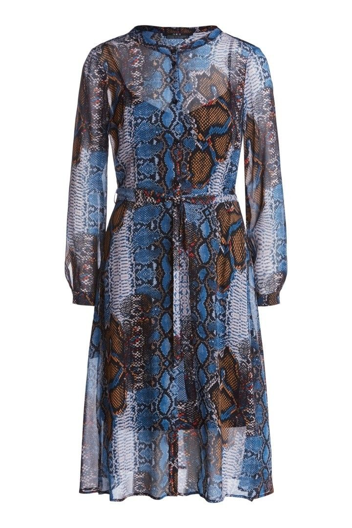 SET - Damen Kleid - Midikleid mit Python-Print - Dark Blue Camel