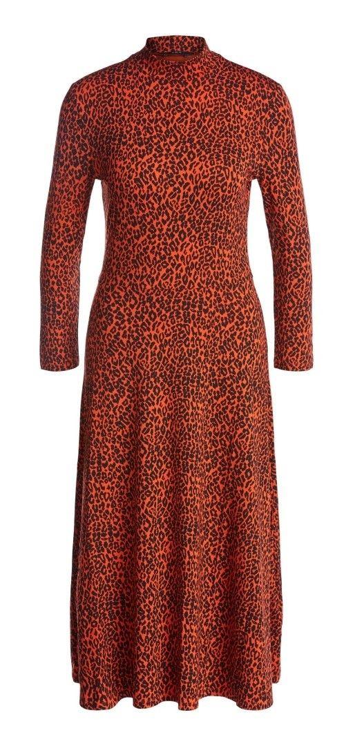 SET - Damen Kleid - Schlupfkleid mit Leo-Print - Black Red
