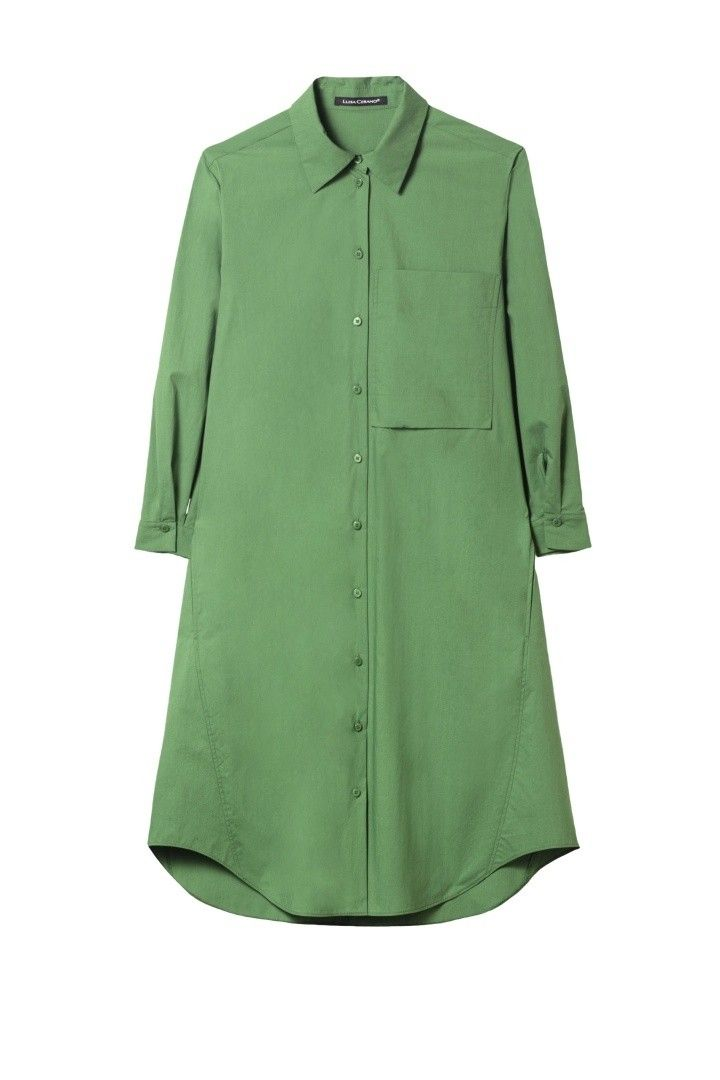 LUISA CERANO - Damen Kleid - Popeline Hemdblusen Kleid - Eco Green