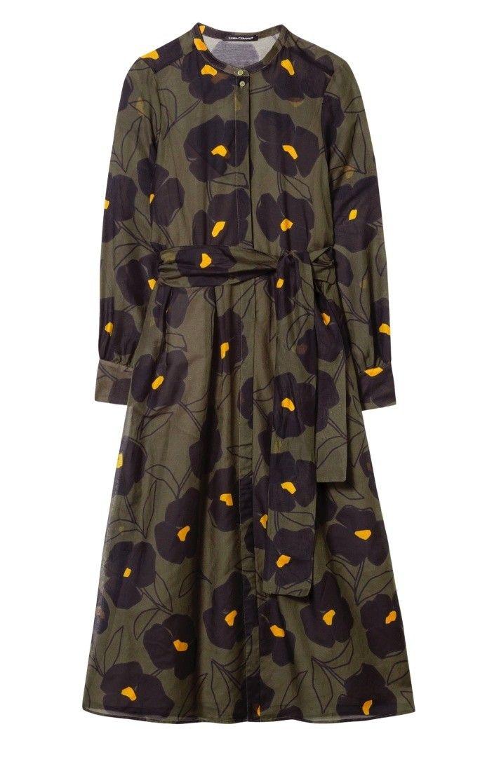 LUISA CERANO - Damen Kleid - Kleid mit Blumen-Print - Rough Khaki