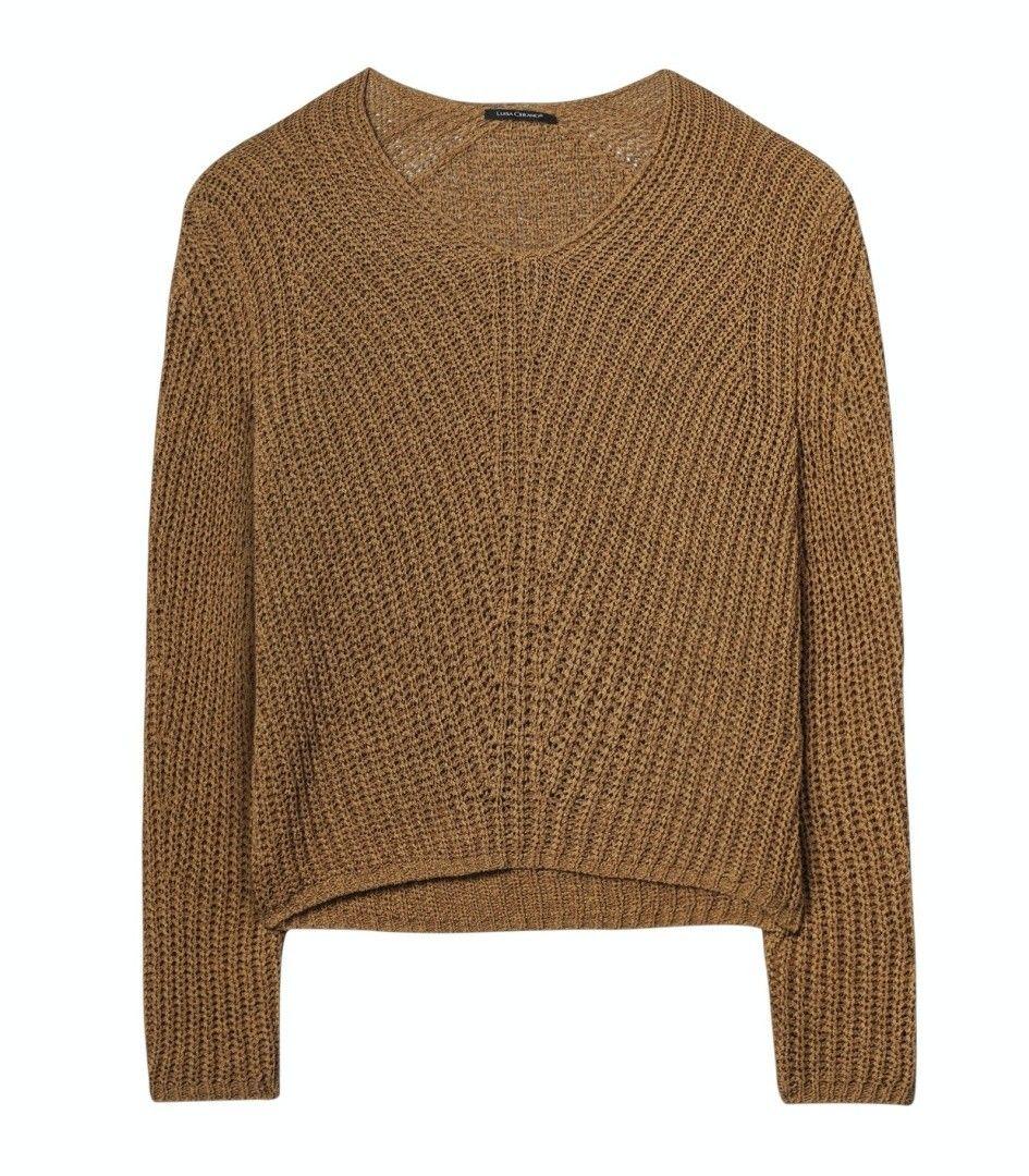 LUISA CERANO - Damen Pullover - V-Rippstrick-Pullover - Cinnamon