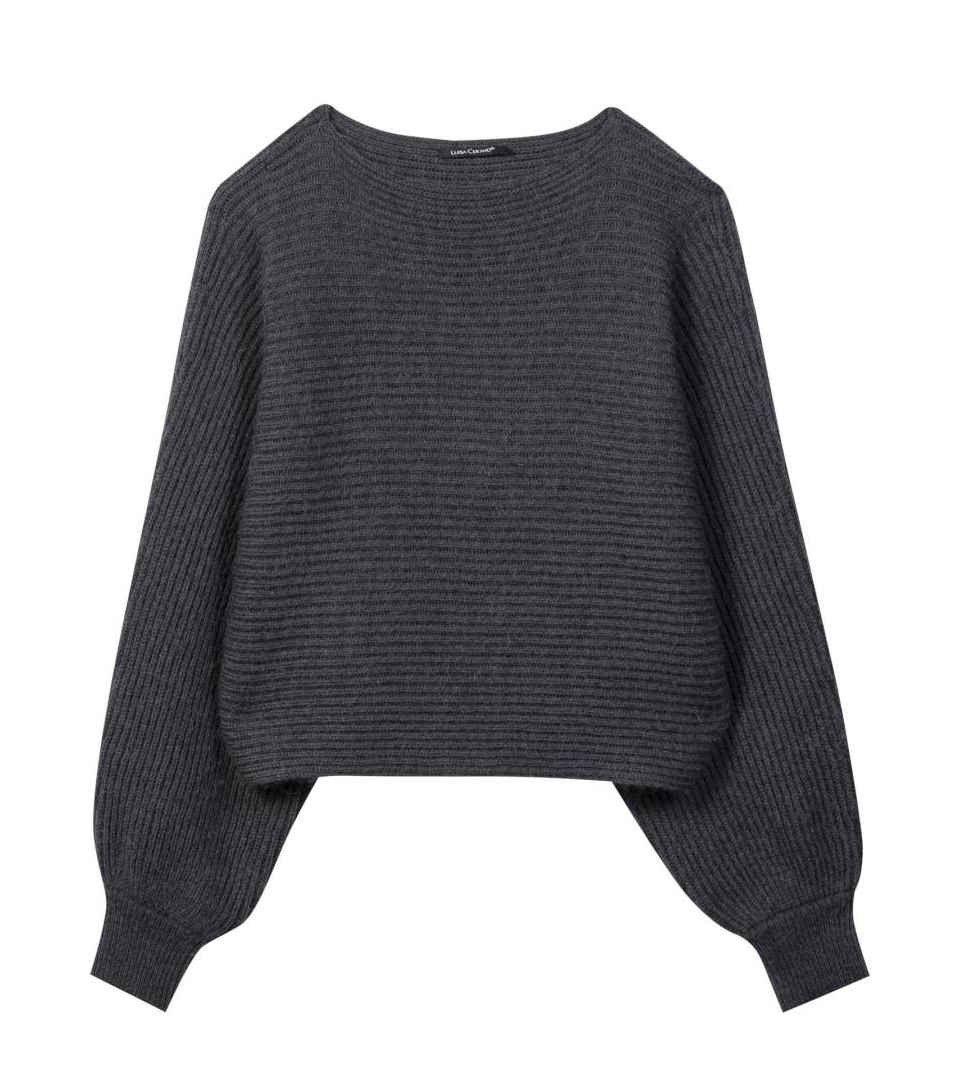 LUISA CERANO - Damen Pullover - verkürzter Cape-Pullover - Grey Melange