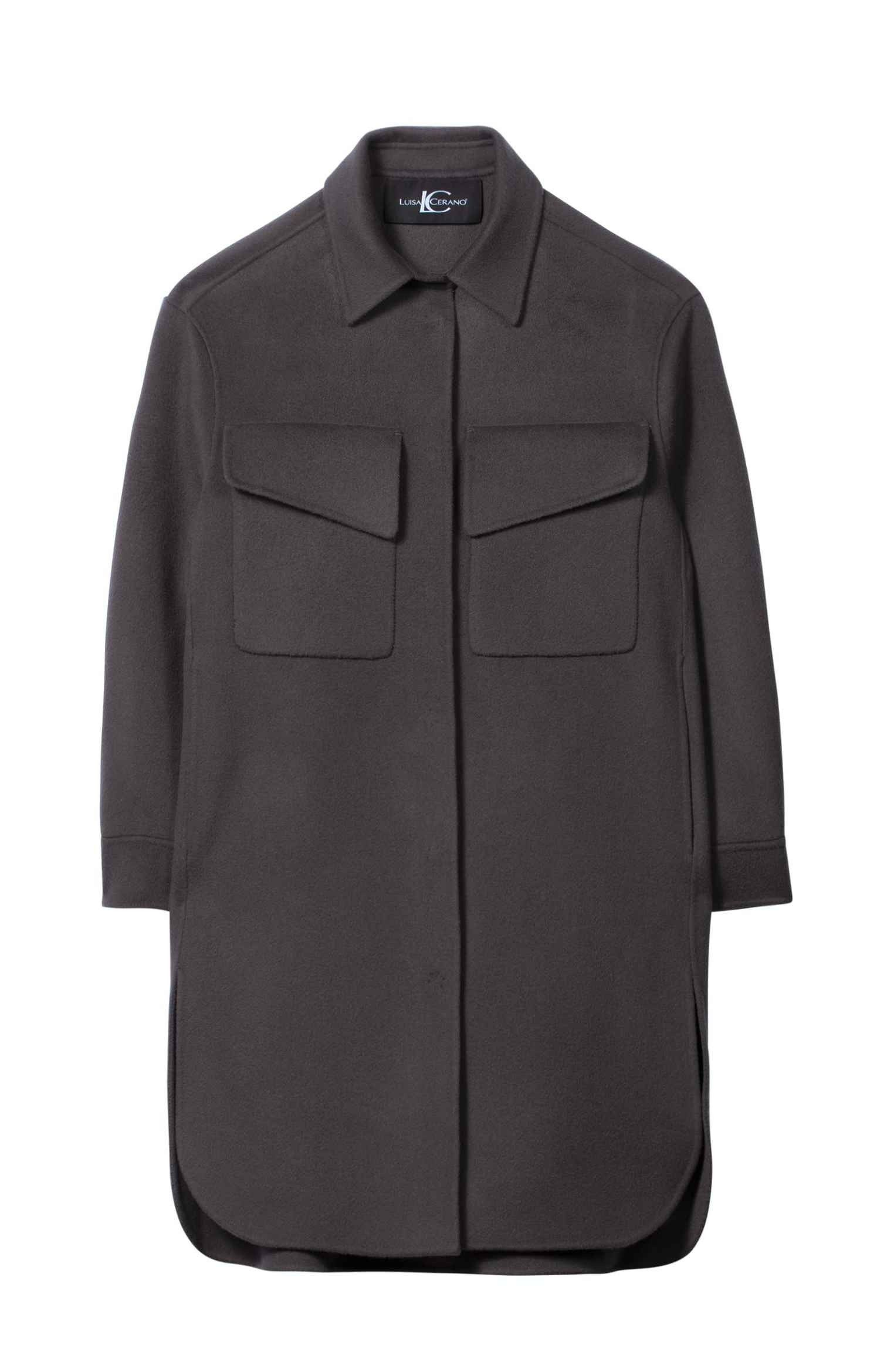 LUISA CERANO - Damen Doubleface Overshirt - Warm Grey