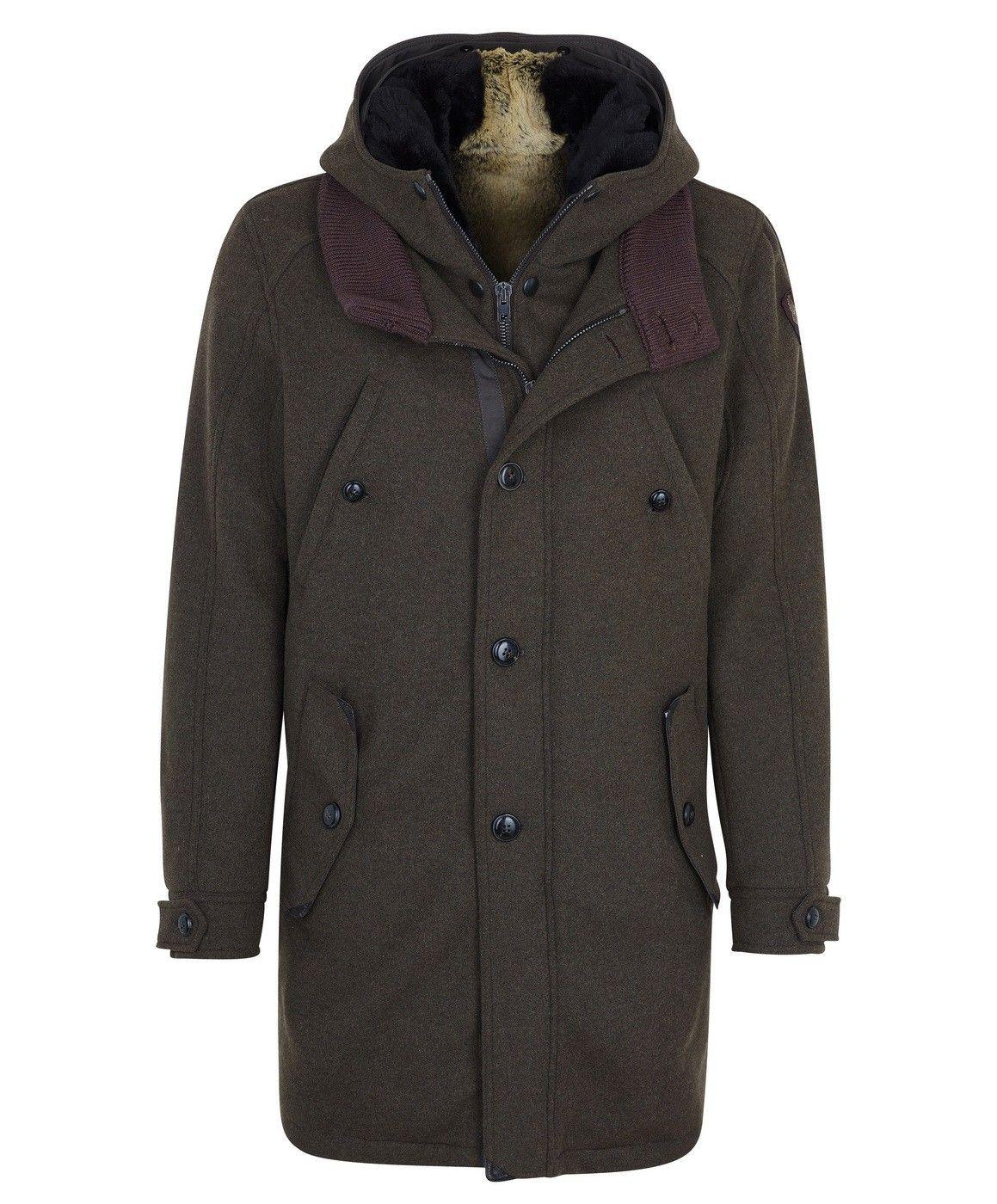 CERVOLANTE - Herrenparka - Parka Wool Fabric Hood Lapin - Origin braun