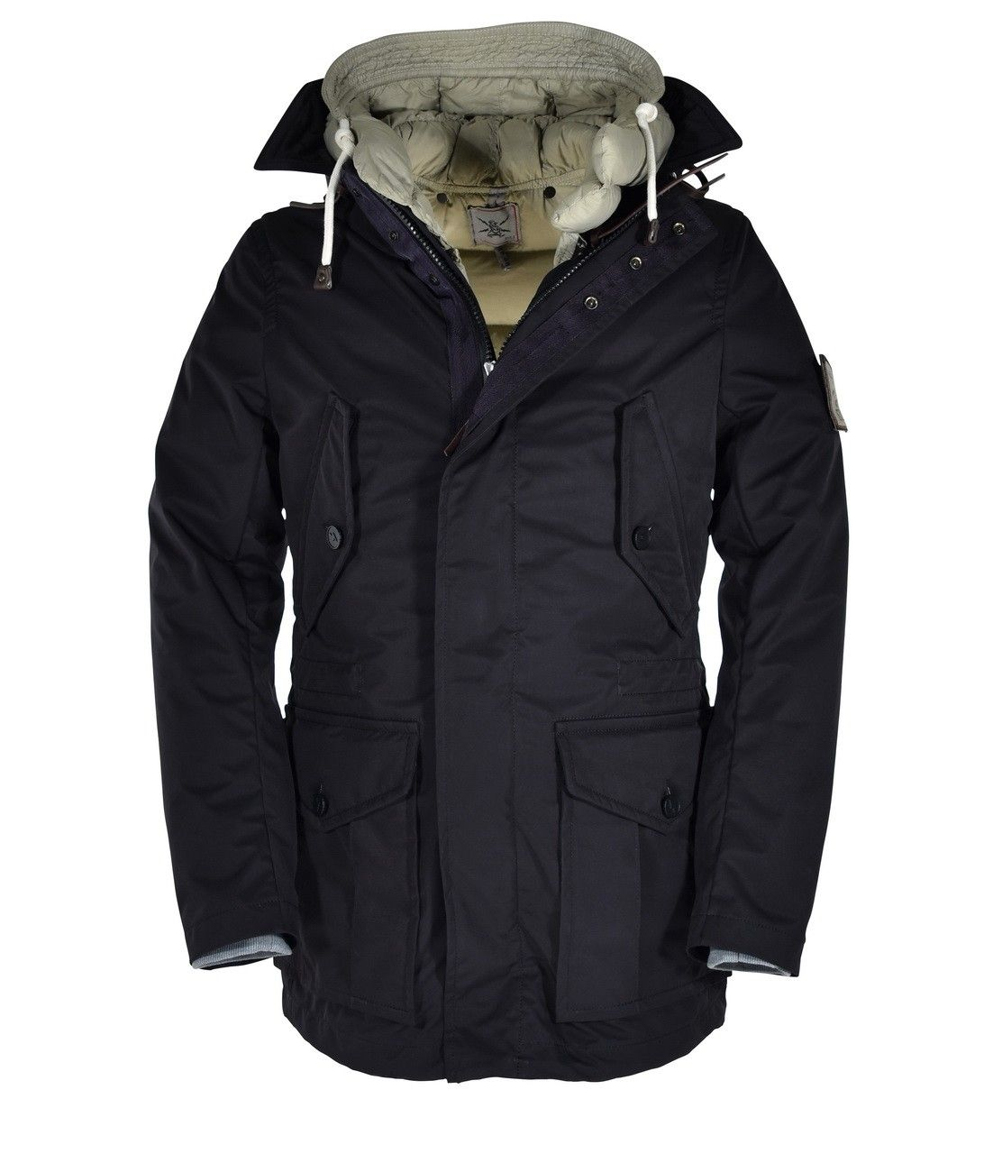 GJO.E - Herren Winter Jacke 29 + Goose Down - Black/Beige