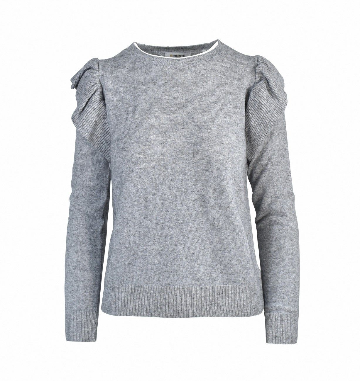 RICH & ROYAL - Damen Pullover - Crew Neck - Grey Mel.