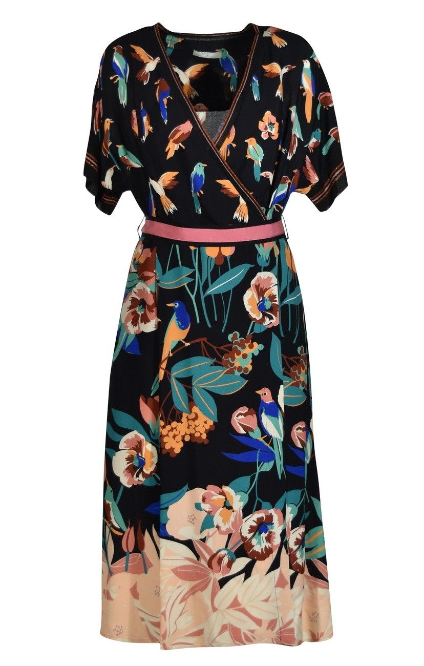 BEATRICE B. - Damen Kleid/Kimono - Dress 6782 Fabric - Black Flower