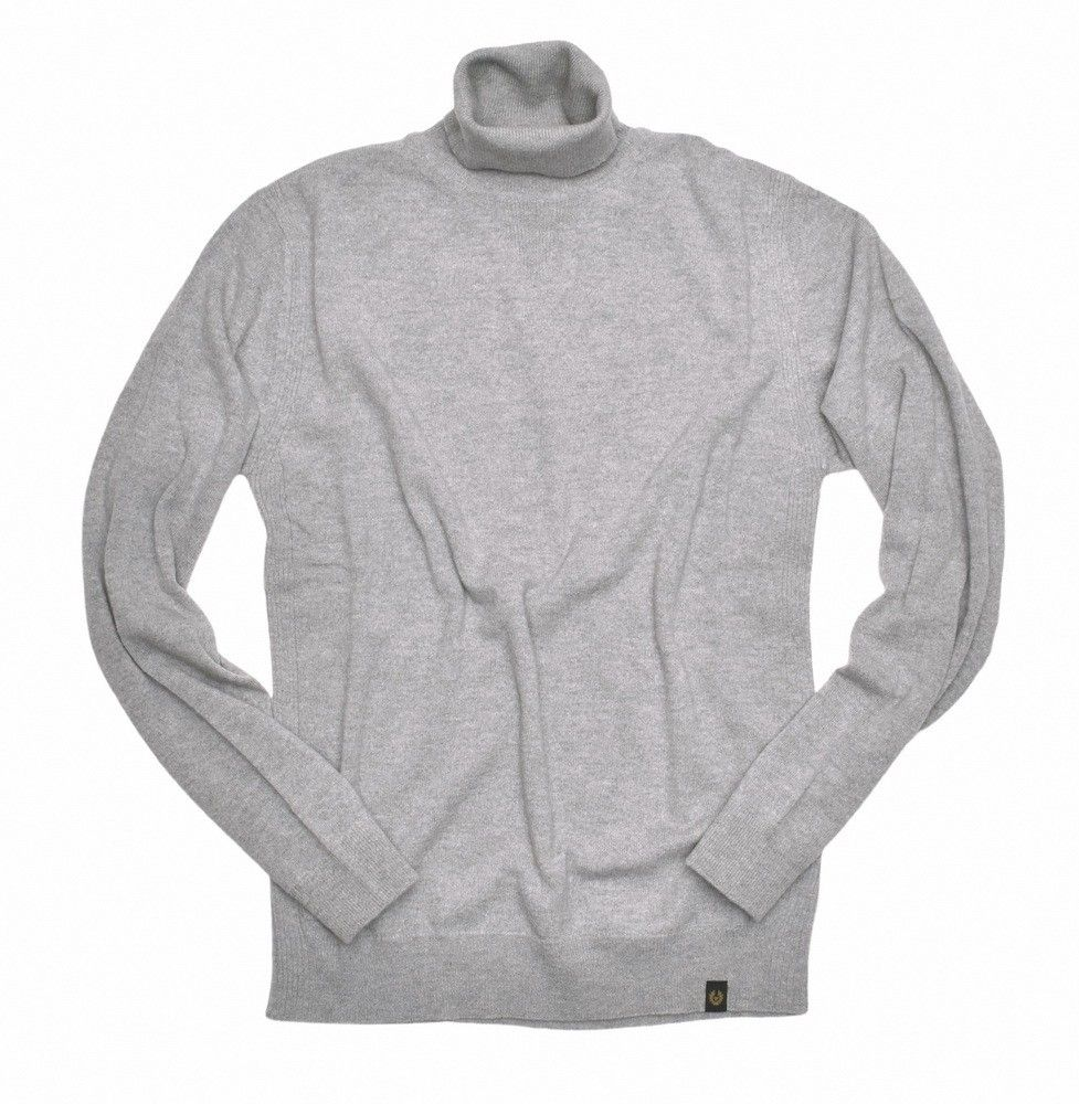 BELSTAFF - Herren Rollkragen Pullover - Engineered Roll Neck - Light Grey / Melange