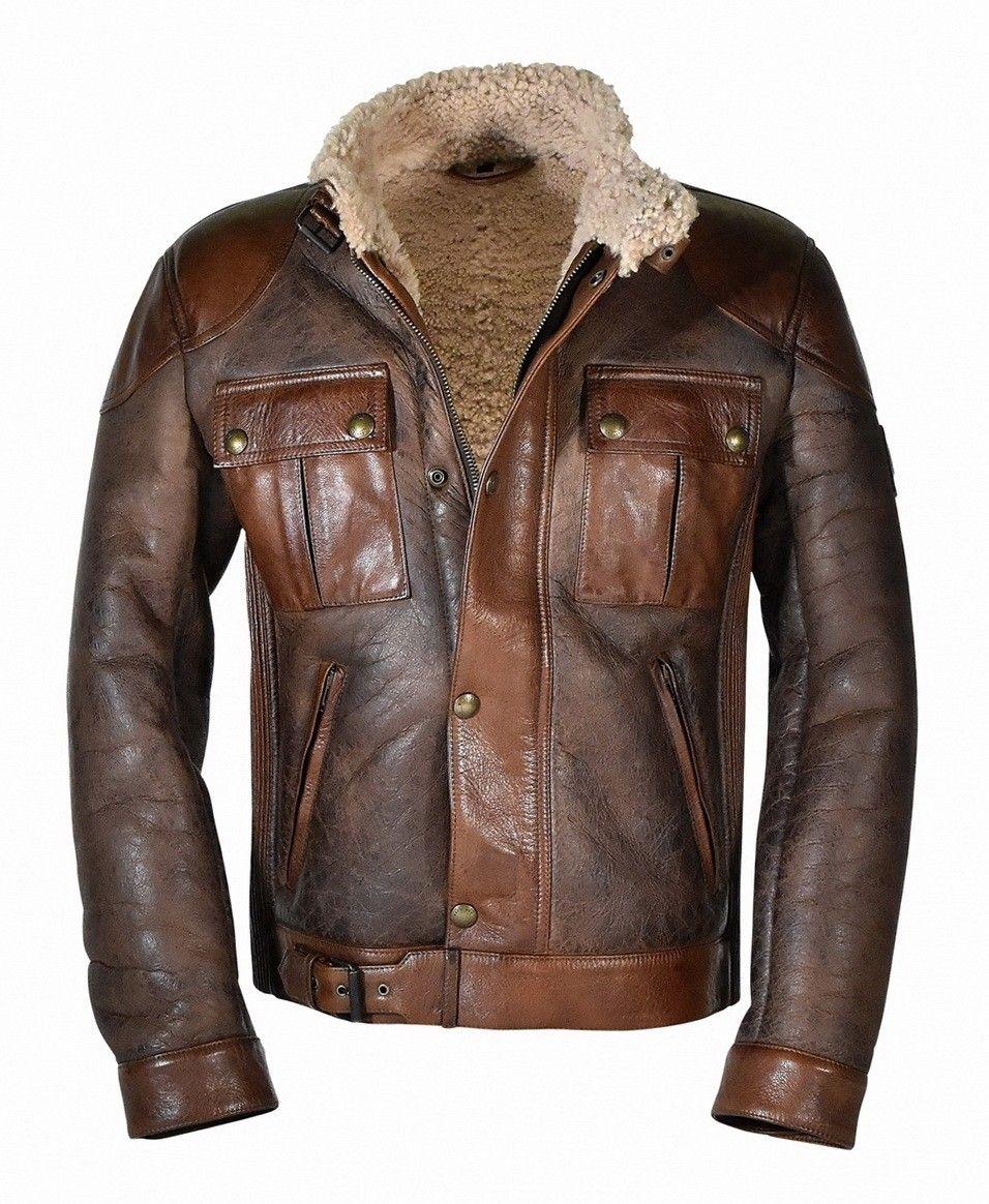 BELSTAFF - Lederjacke - Gangster Shearling Blouson - Vintage Brown