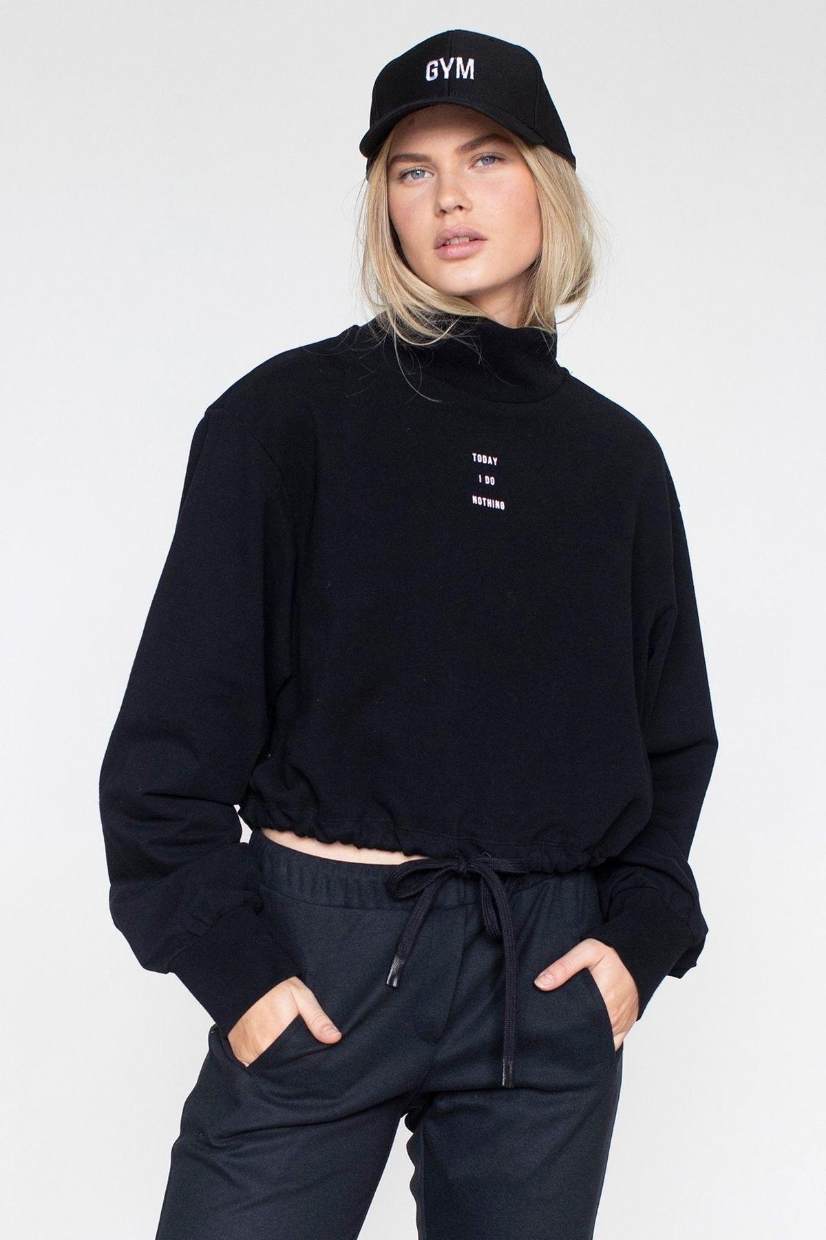 PENN&INK - Damen Pullover - Sweater Print - Black/White
