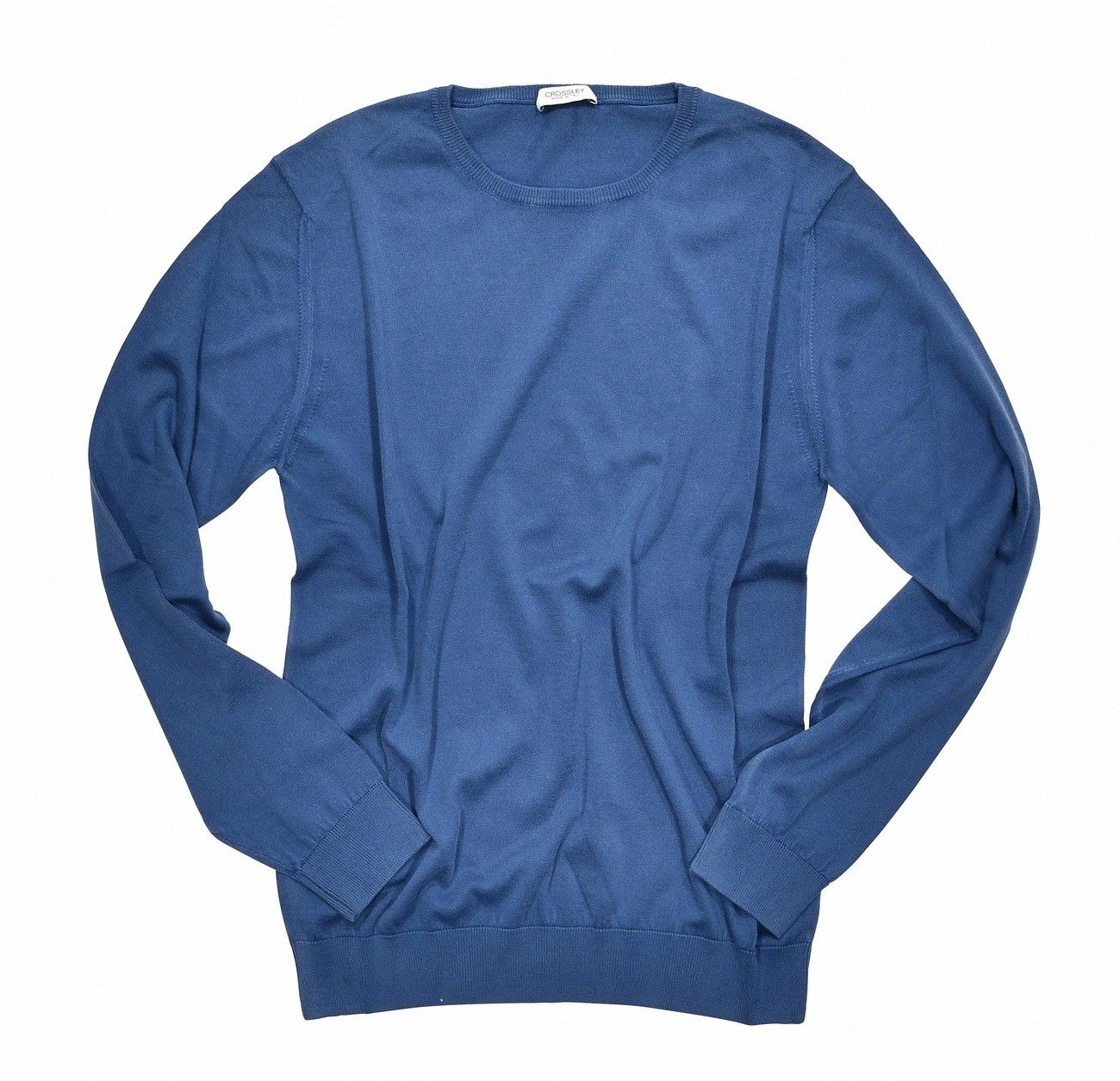 CROSSLEY - Herren Feinstrick - Organic Crew Neck - Dyed Blue