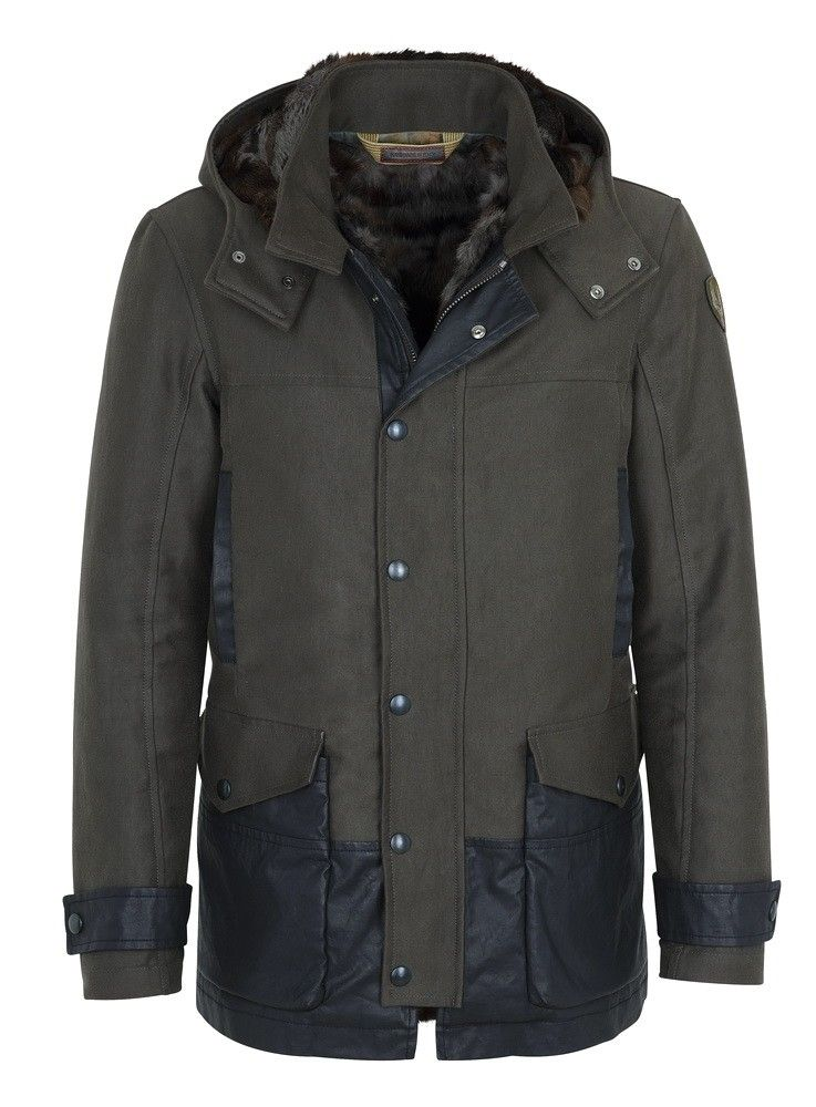 CERVOLANTE - Hereren Jacke - Fabric Hood Lapin - Brown/Faded Black
