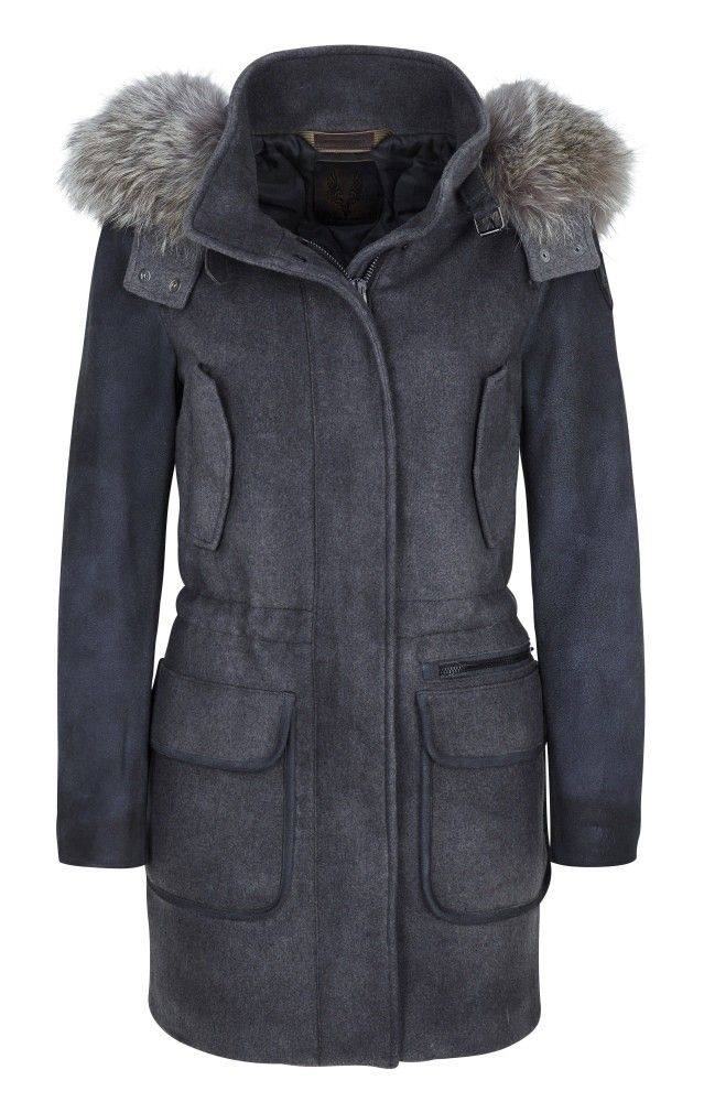 CERVOLANTE - Damen Jacke - Wool Fabric/Leather Coyote - Grey/Brown