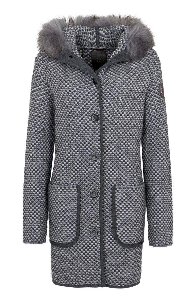 CERVOLANTE - Damen Mantel - Strick Tricot - Grey