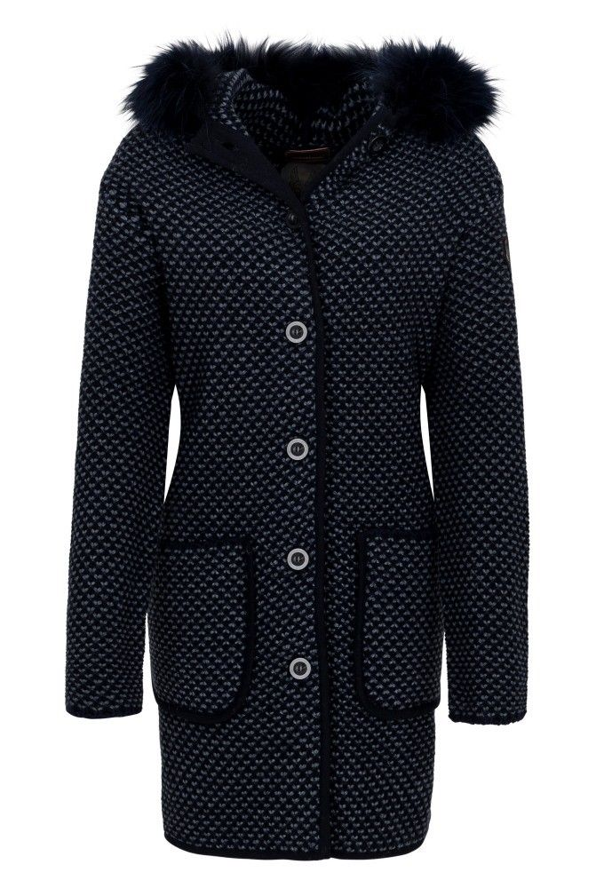 CERVOLANTE - Damen Mantel - Tricot - Blue/Black