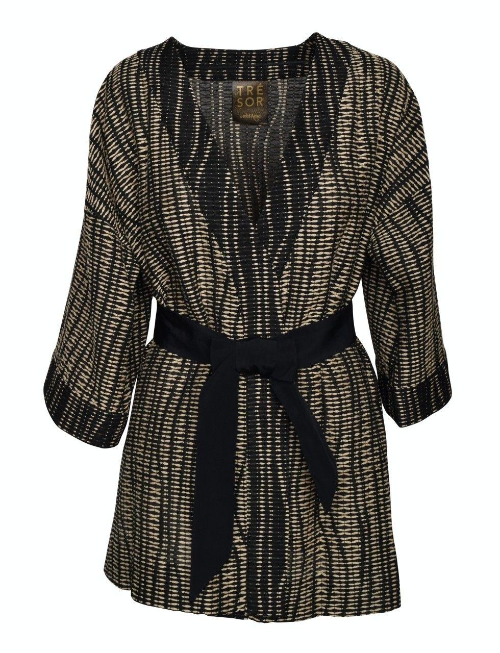 OTTOD´AME - Damen Kimono - Camicia - Shirt - Schwarz/Camel