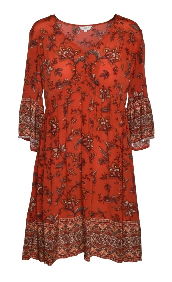 FROGBOX - Damen Kleid - Dress Aop Beige - Indian Flower