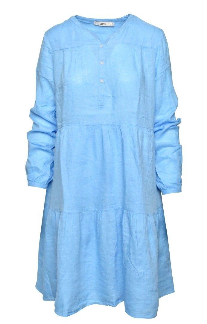 0039 ITALY - Damen Kleid - Ricarda New - Kleid Leinen - Blau