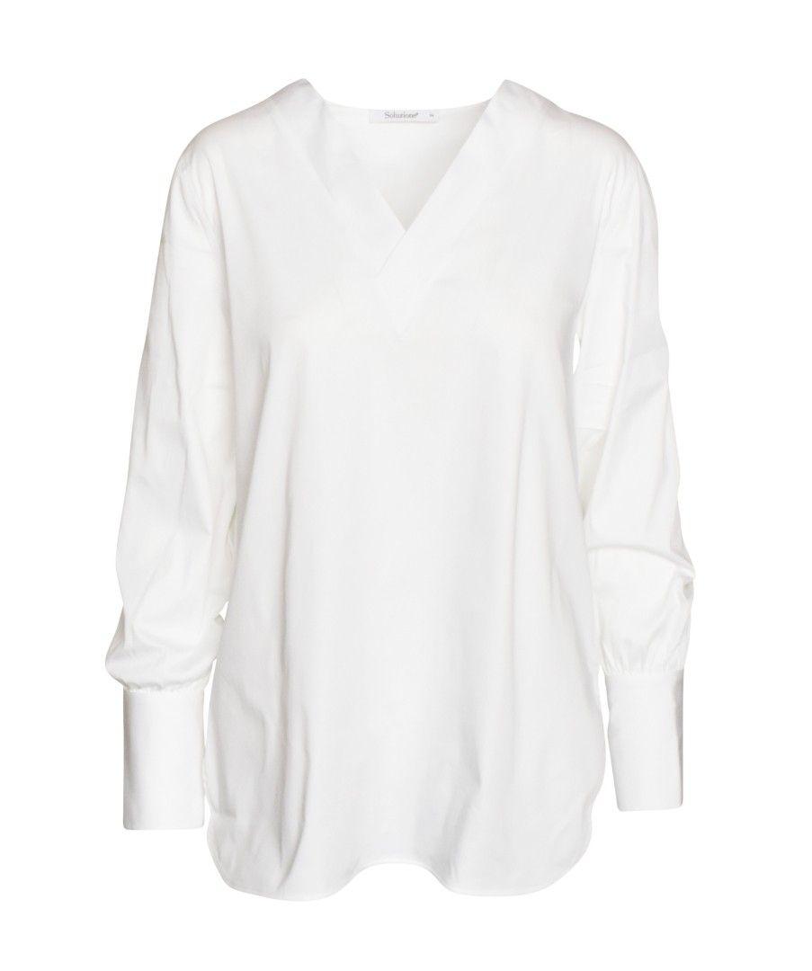SOLUZIONE - Damen Shirt - Tunika - Weiß