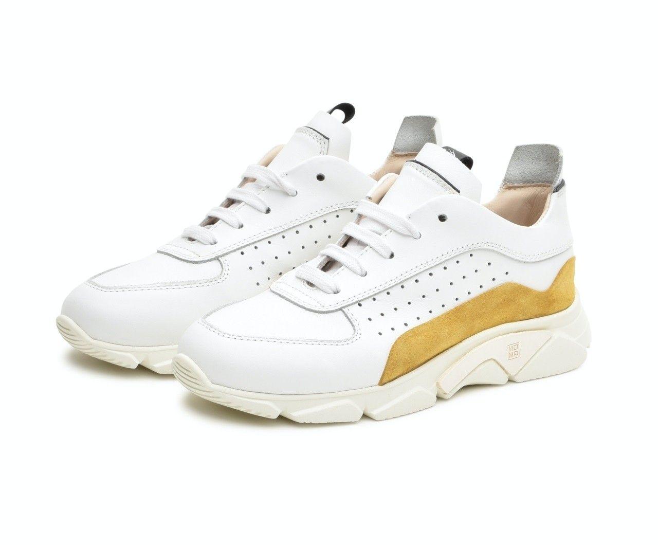 MOMA - Damen Sneaker - Box Tony - Bianco & Mandarino