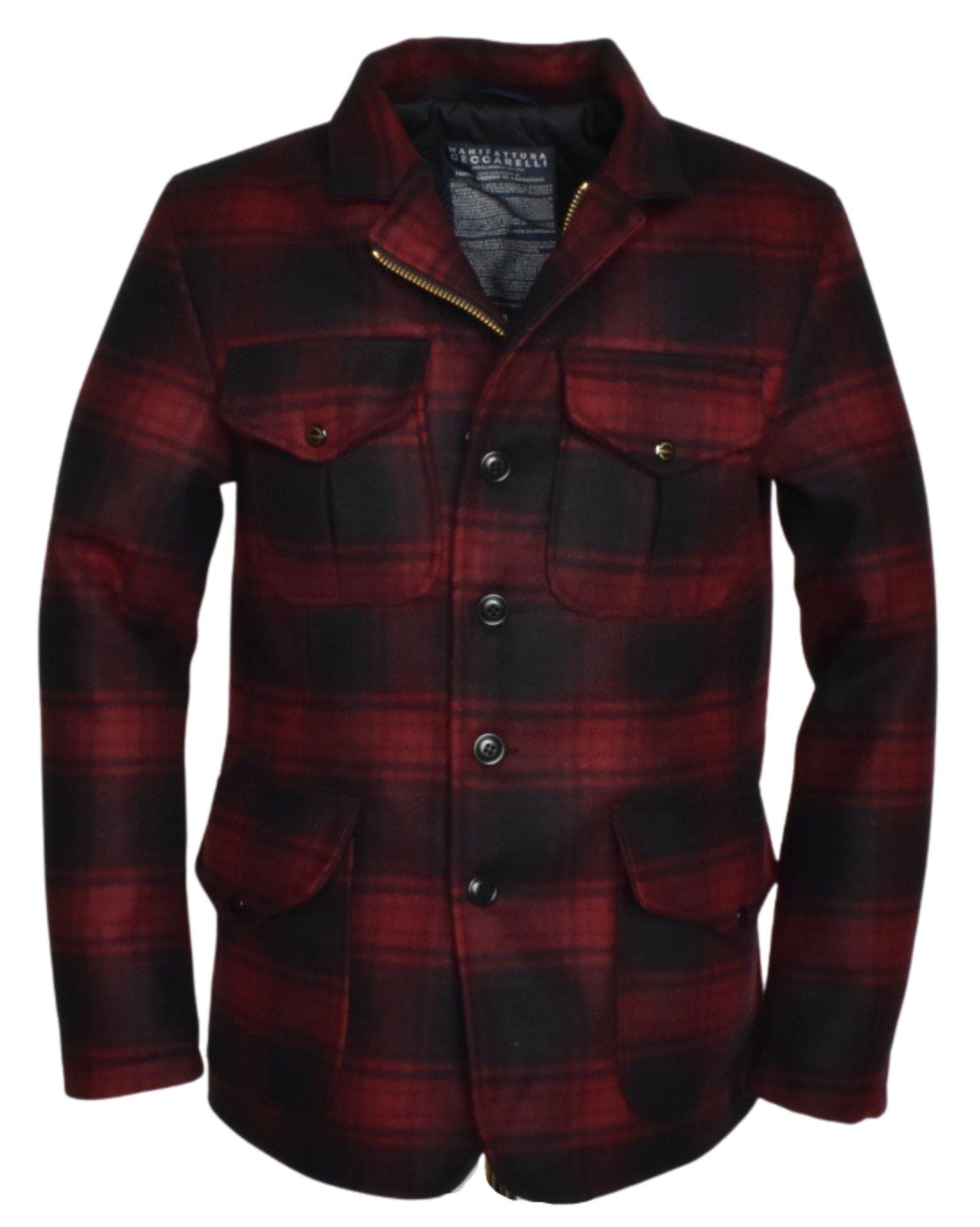 MANIFATTURA CECCARELLI - Herren Jacke - Wool Alligator Jacket - Red Black