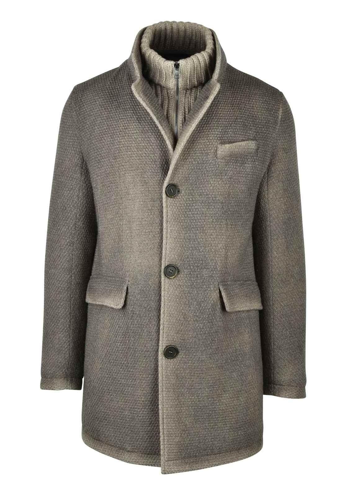 GIMO´S - Herren Mantel - Stoffmantel mit Zip-Rollneck Kragen - Vintage Grey