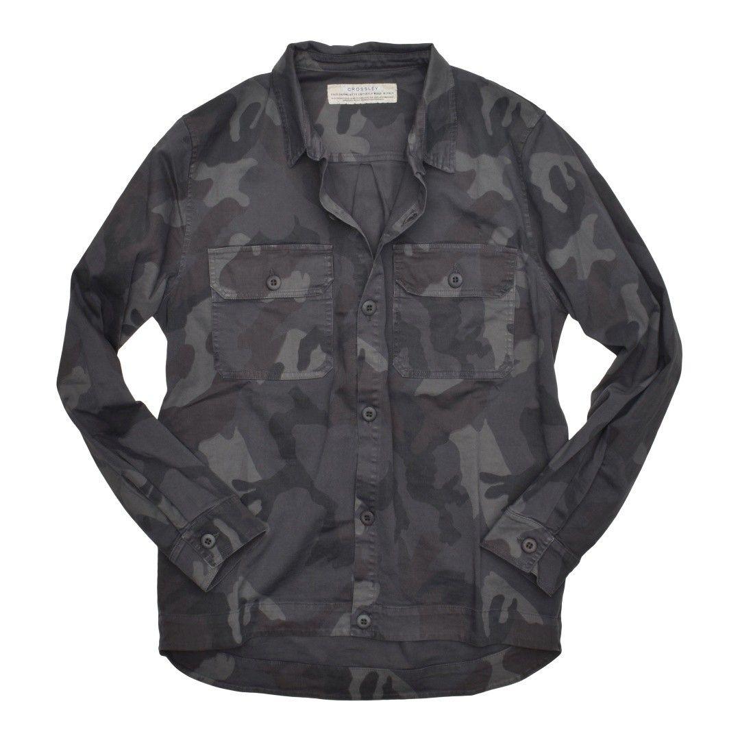 CROSSLEY - Herren Hemd - Man LS Pocket Shirt - Camou/Navy