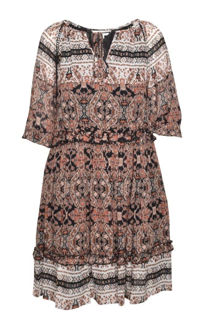 FROGBOX - Damen Kleid - Midi Ethno Dress - Tile Title Black